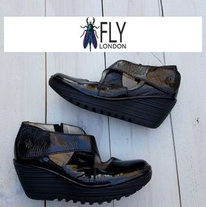 Fly London patent leather wedge shoes